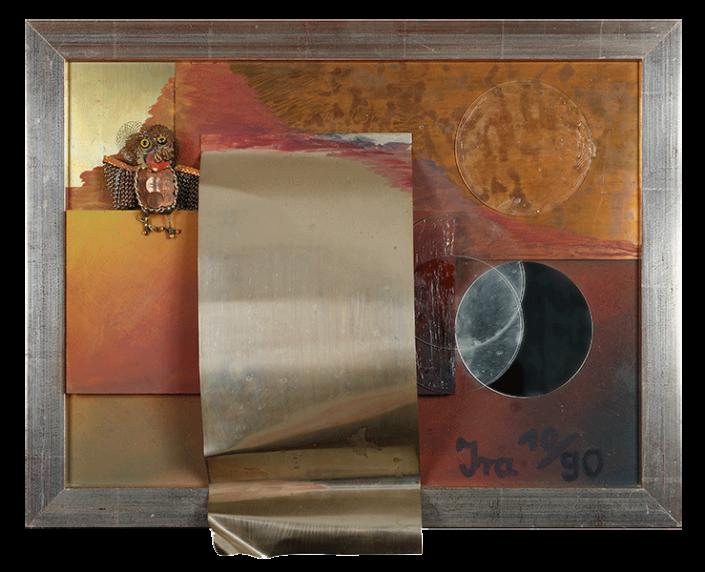 assemblage_naturgewalt_holz_spiegel_und_metall_auf_spanplatte_1990