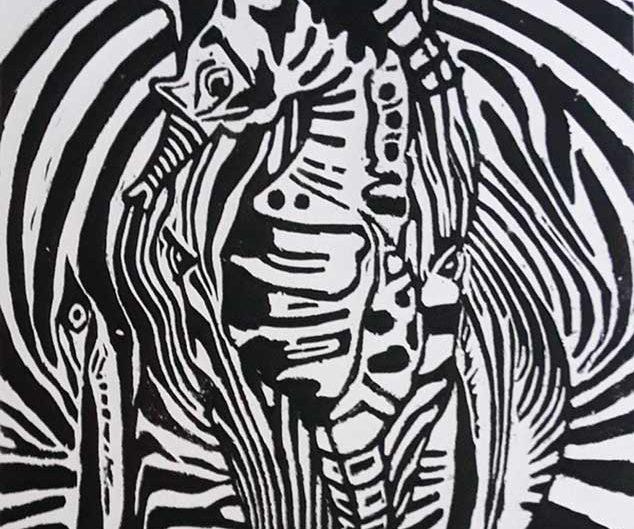 zyklus_exotik_II_holzschnitt_seepferdchen_zebra